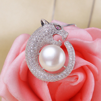 High Quality 925 Sterling Silver Leopard Design Full Of Crystal Natural 10 11mm Freshwater Pearl Necklaces