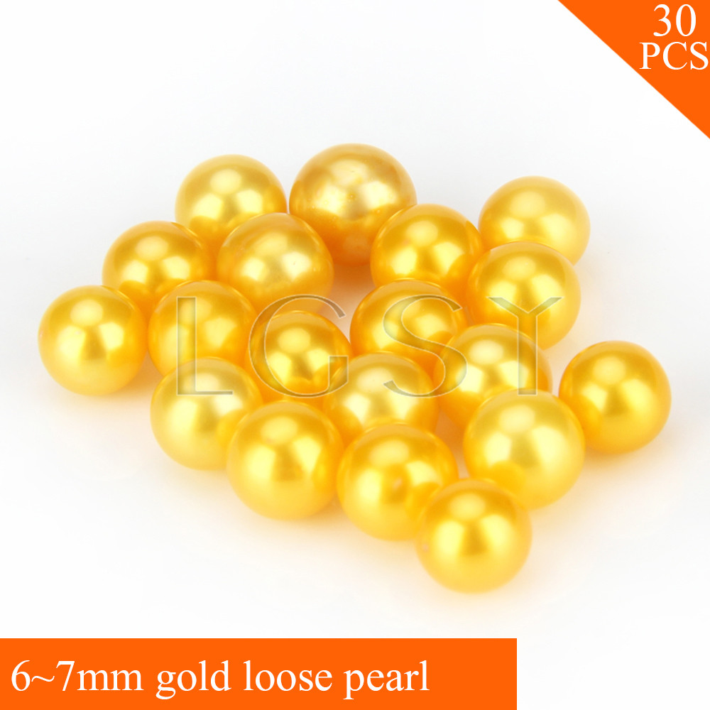 FREE SHIPPING, Shinning 6-7mm AAA Gold saltwater round akoya pearls 30pcs for fitting Jewelries fashion bright color 7 8mm aaa red saltwater round akoya loose pearls 50pcs for women fitting jewelry