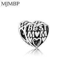 New Retro Heart Best Mon DIY Charms Nice Vintage Beads Fit Pandoraa Gift For Bracelet & Necklaces Jewelry making Women Gifts(China)