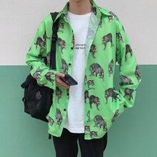 Men Long Sleeve Shirt Loose Japanese Streetwear Fashion 2019 Casual Shirts Polyester Print  Animal Plus Asian Size M-5XL