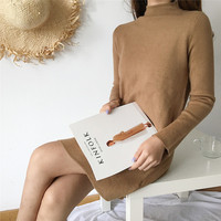 Super High Quality Warm Turtleneck Cashmere Sweaters Woman 2017 Winter Straight Long Sleeve Sweater Solid Color