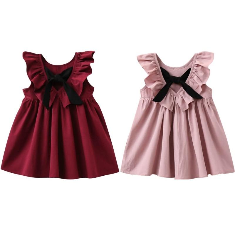New Princess Kids Baby Girls Dress Bow Tie Sleeveless Jumper Dresses Pleated Puff Sleeve Children Girls Apparel