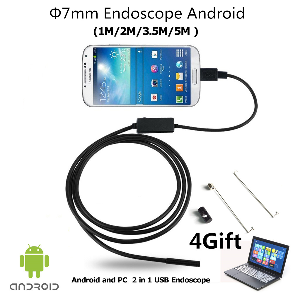 Endoscope Android Dia 7mm Lens Micro OTG USB Camera Waterproof Pipe Android Borescope Endoscoop Camera Snake Tube 1M 2M 3.5M 5M 2m 5 5mm lens inspection android usb borescope usb android otg usb endoscope camera waterproof snake tube pipe for android pc