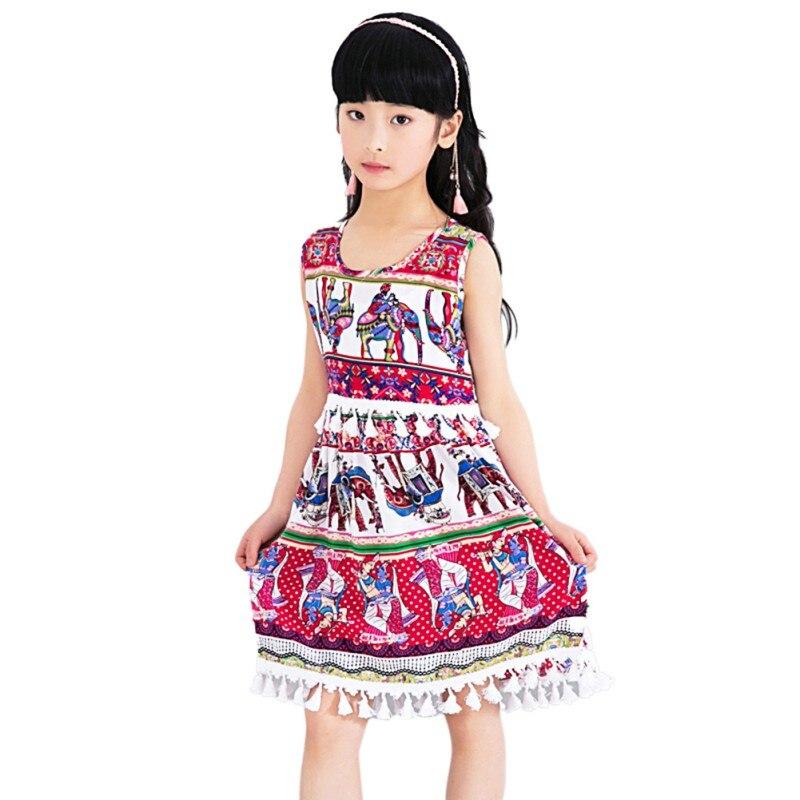 WEIXINBUY Girls Clothing Summer Girl Dress Children Kids Berry Dress Back V Dresses Girls Cotton Kids Vest dress Children Clothe