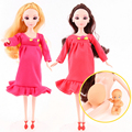 2017 New Educational Real Pregnant Doll Baby Born Suits Mom Doll With a Baby in Her Tummy UCanaan Gift For Children Babies