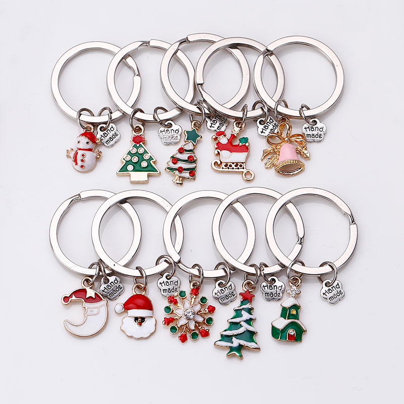 Metal Enamel Christmas Keychain Phone Chain for Woman Diy Handmade Fashion Christmas Gift Girl 10pcs lot C5200