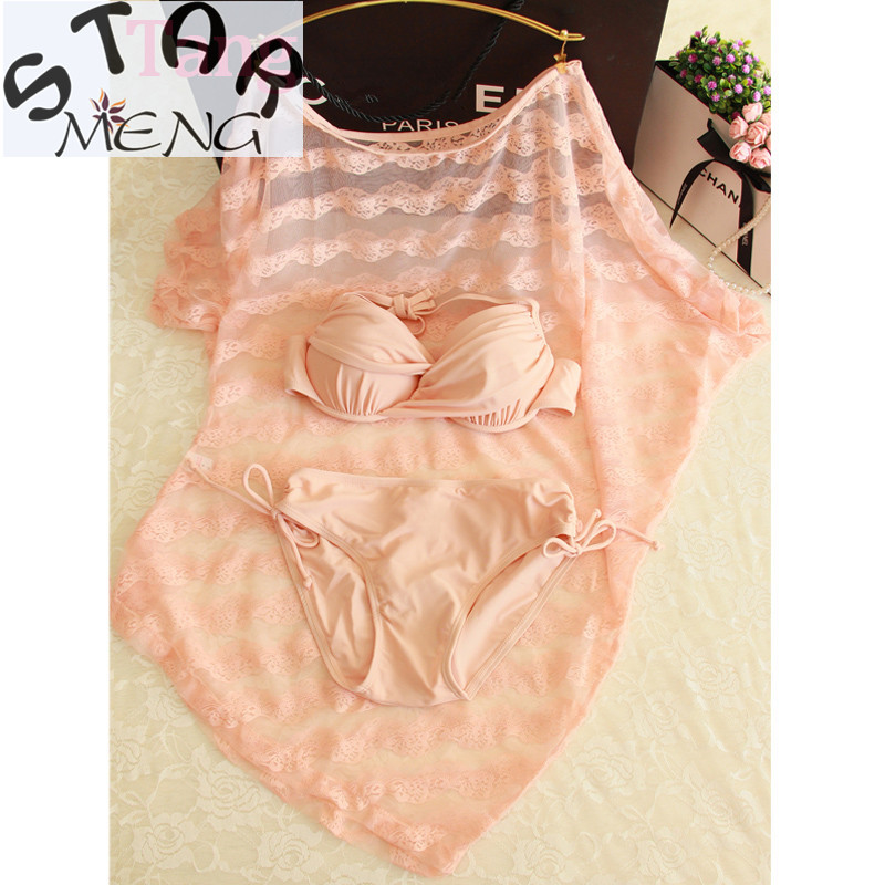 STAERK 2017 New women Pink Sexy Lace Blouse Thin Small Chest Gather Steel Support Three Piece Swimsuit Bikinis Hot Girl swimsuit women bikini swimsuit women gather small chest big chest steel prop sexy blouse beach lovers swimsuit cover the belly