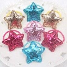 Новинка блестящая пудра звезда 5 цветов красивые эластичные ленты для волос детские 30 мм+ 38 мм конский хвост держатель аксессуары для волос для девочек