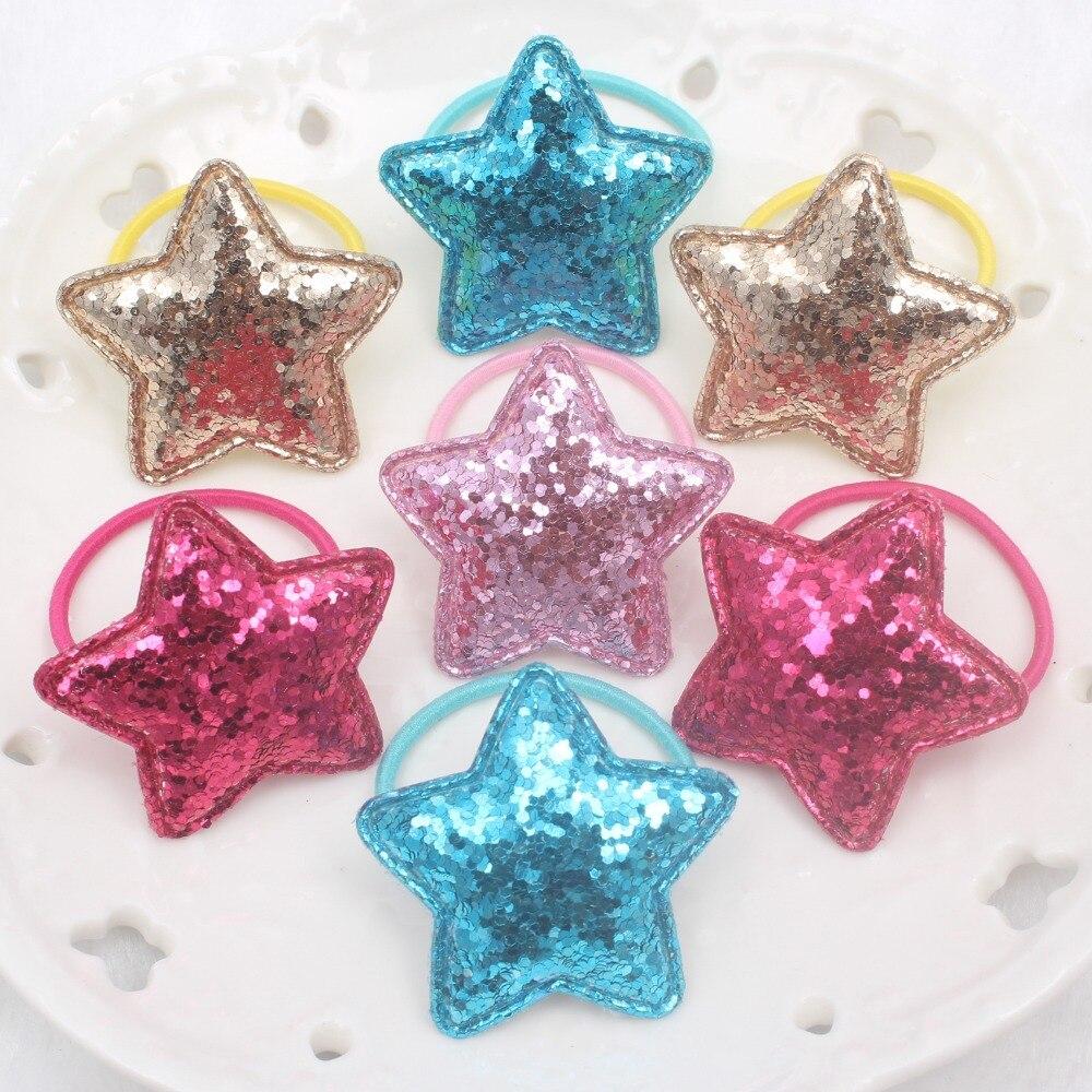 Новинка 2018 года блеск косметическая пудра Star 5 цветов красивые эластичные Ленты для волос Детские 30 мм + 38 хвост держатель аксессуары для волос д