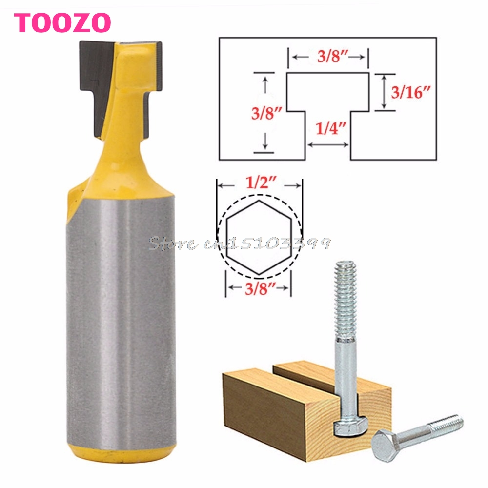 3/8'' T-Slot Cutter Steel Handle Milling Router Bit 1/2'' Shank For Woodworking #G205M# Best Quality  цены