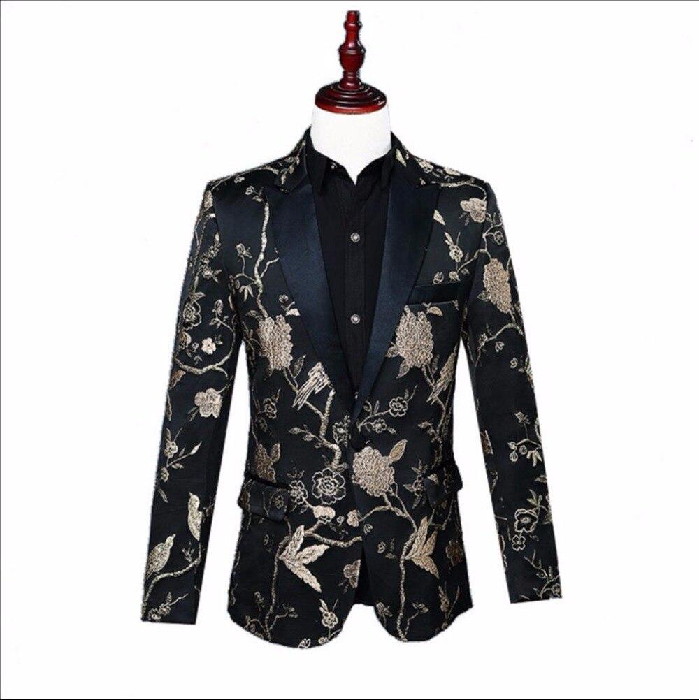 S-XXL Mens performance Printed Floral suit coat host nightclub DJ suit brocade jacquard Blazers jacket stage singer costumes