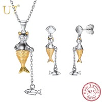 U7 925 Sterling Silver Jewelry Sets Mermaid Fish Necklace Earrings set for Women Girls Daily Wear Accessories Party Jewelry