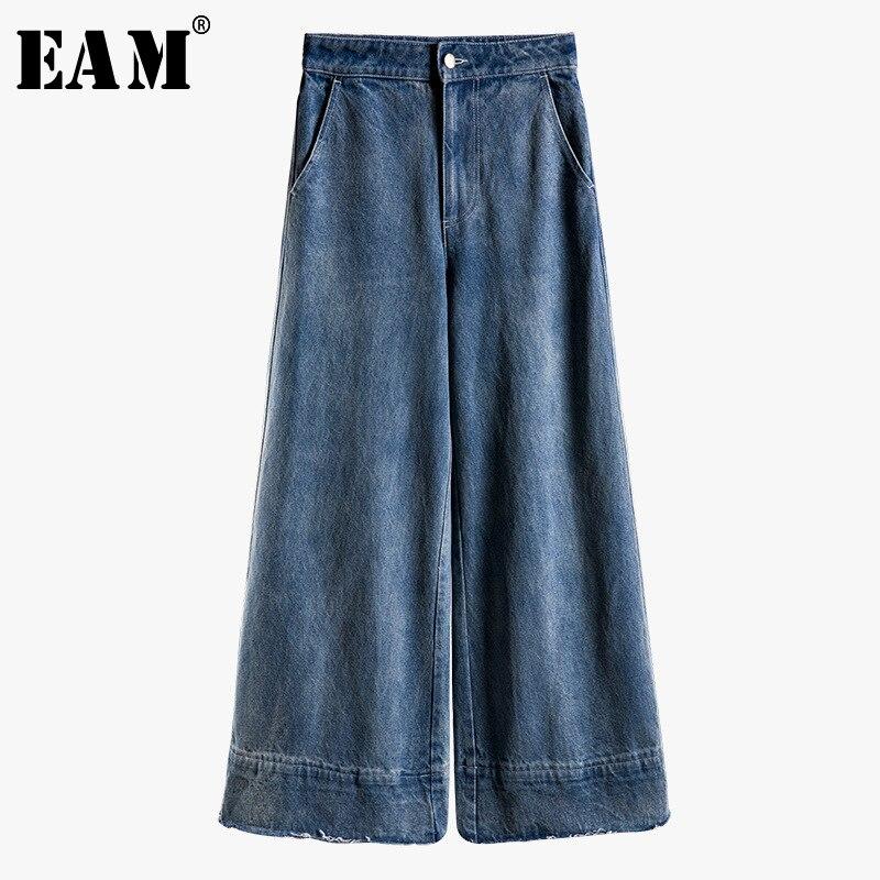 [EAM] 2019 New Spring Summer High Waist Loose Blue Deinm Long Pocket Stitch Wide Leg   Jeans   Women Trousers Fashion Tide JT884