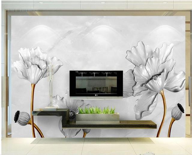 3d Angepasst Tapeten 3d Wallpaper Lotus Marmor Relief Hintergrund