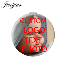 JWEIJIAO Personalized Custom Photo Round Folding Pocket Mirror White PU Leather Compact Portable Makeup Cosmetic Tools