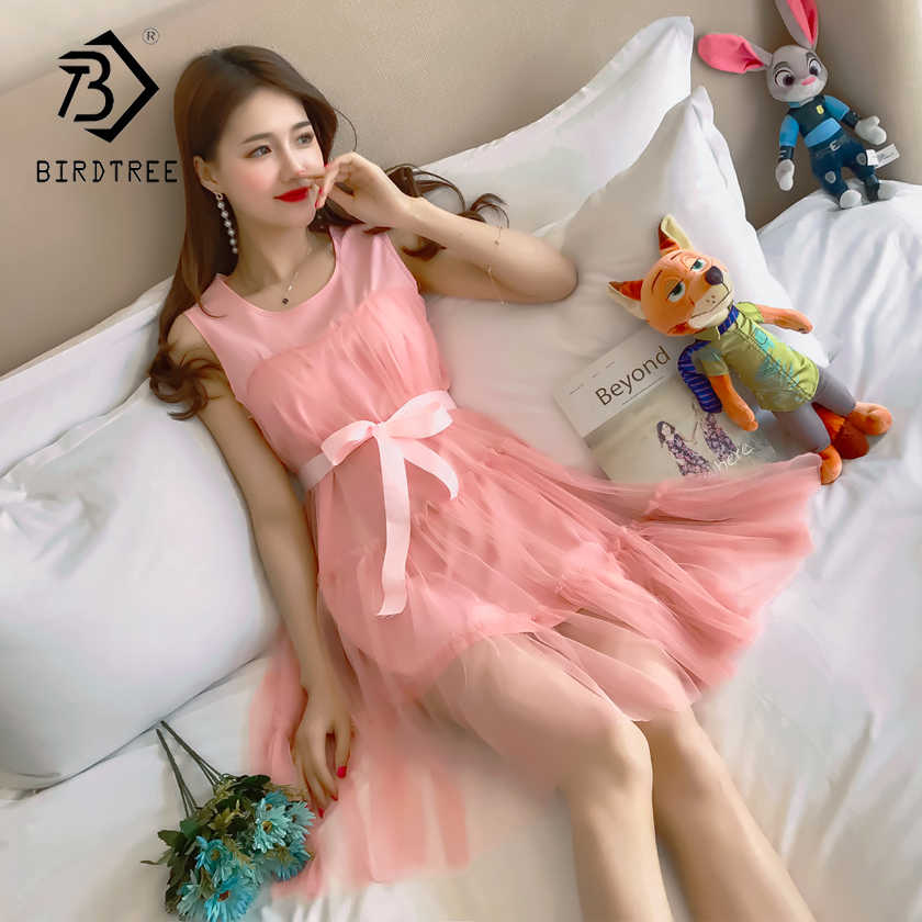 ee86d71dc338 2018 Summer New Arrival Fashion Mesh Women s Dresses Korean Style Sweet  Square Collar Knee Length Dresses