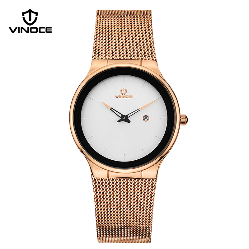 VINOCE Watches Women 2018 Simplicity Top Brand Luxury Business Stainless Steel Fashion Waterproof Gold Quartz Women Watch liber aedon gold stainless steel strap top brand luxury women watch anique design sport quartz elegant fashion women watches