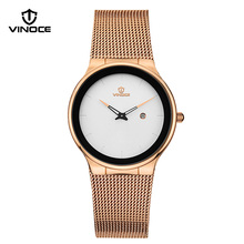 VINOCE Watches Women 2017 Simplicity Top Brand Luxury Business Stainless Steel Fashion Waterproof Gold Quartz Women Watch