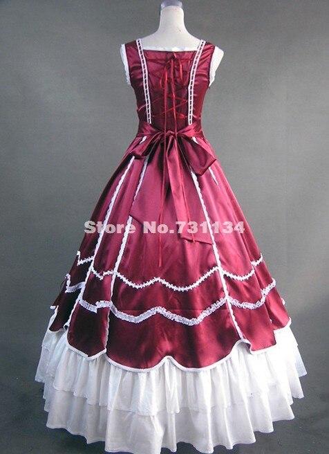Красно-белый Южно-Белль, гражданская война Викторианский платье Лолита Принцесса Театральный Костюм