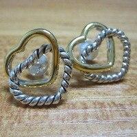 Золото посеребрённые, ювелирные украшения кабель сердца связаны Сердце Серьги 925 Серебряные серьги прочное Стерлинговое Серебро 925 пробы С