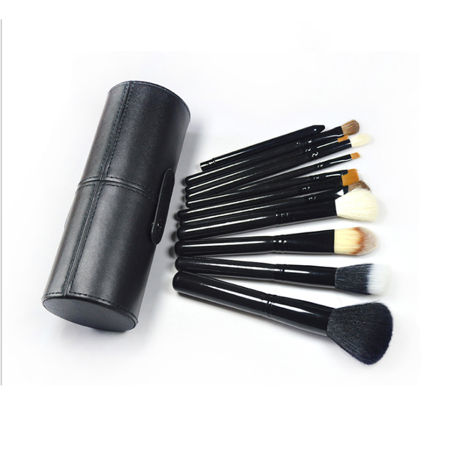 12Pcs/Set Makeup Brushes Set Face Powder Foundation Cosmetic Brush with Leather Holder Case Make Tools Kit