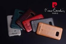 2016 Новый Пьер Карден Для Samsung Galaxy S7/S7 Edge Натуральная Кожа Вернуться Case Cover Бесплатная Доставка