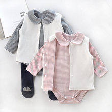 New Baby Girl Thread Cotton Long Sleeve Bodysuit Vest Set Toddle Girls 1piece Waistcoat Suit Infant Cute Clothes Born 3m Gift(China)