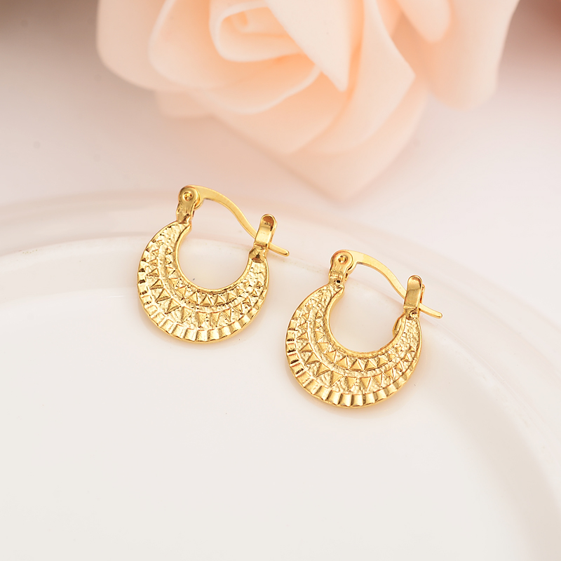 0862ca5365d Bangrui 24K African Round Earrings for Women girls Gold Color Jewelry