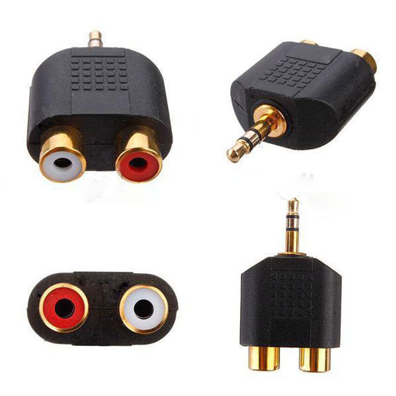 1pc Gold Plated stereo Audio male Plug to 2 RCA female jack Y 3.5mm Adapter gold plated 3 5mm male to 2 rca female audio adapter black