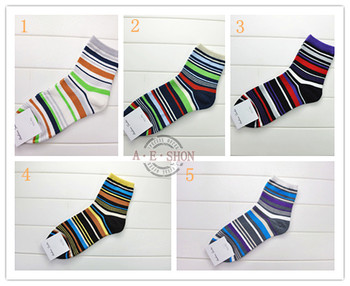 2016 new arrival 5pairLot Mens Brand fashion high quality british style color strips Socks mix 5 colors 6029 hockey sock