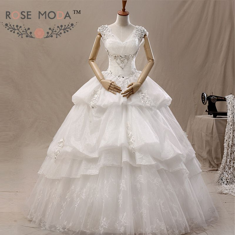 Cap Sleeves Lace Full A Line Wedding Dress Pearl and Crystal Beaded Lace Corset Debutante Dress Vestidos de Noiva Real Photos
