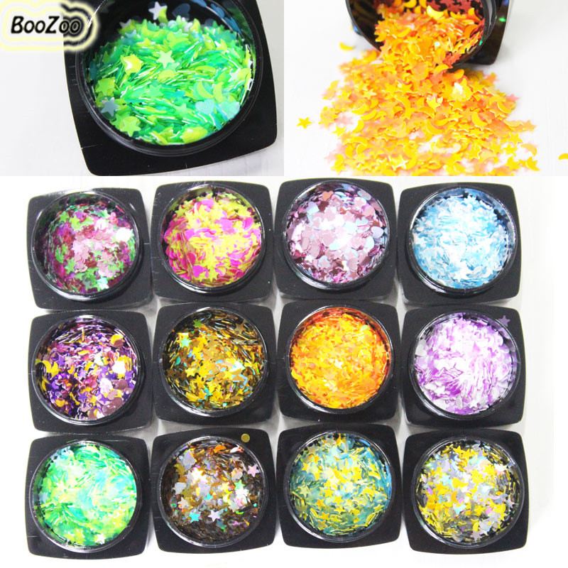 цены  BlueZoo 12 Box 3D Shiny Nail Sequin Lucky Star/ Moon/ Heart DIY Paillette For Nails Tips Face Nail Art Decoration Beauty Flakes