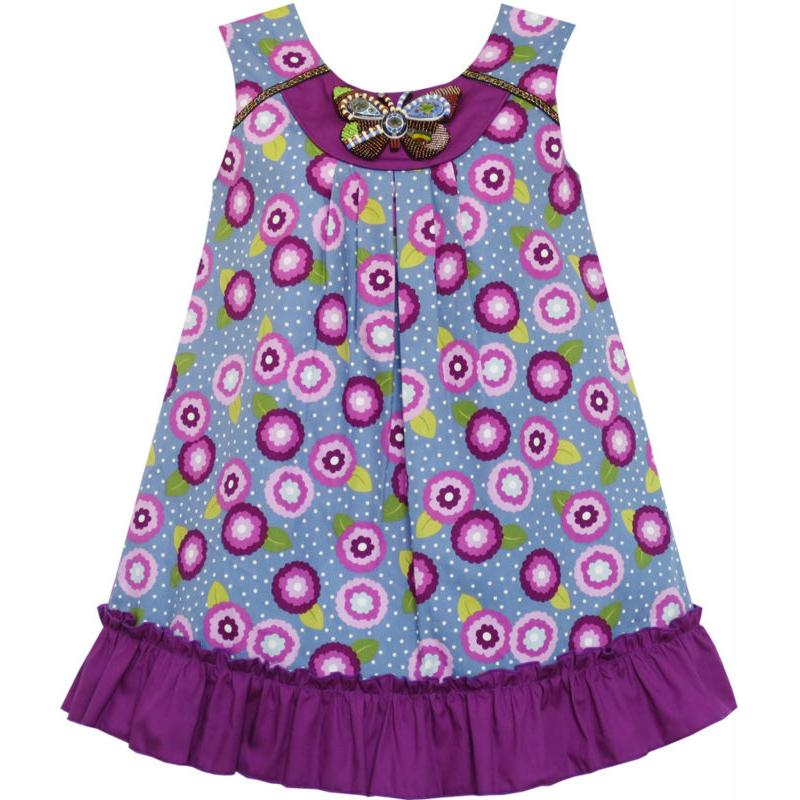 Flower Girl Dress Cotton Floral Beaded Butterfly Purple 2018 Summer Princess Wedding Party Dresses Girl Clothes Size 7-14
