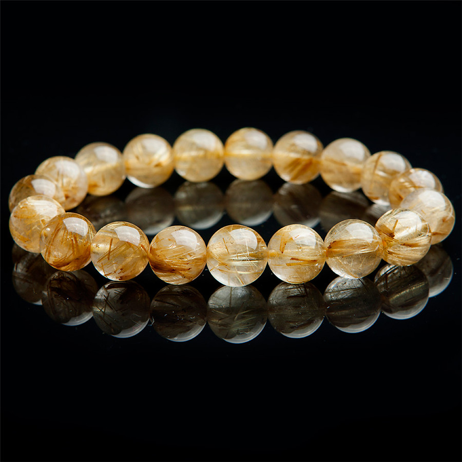 11mm Natural Brazil Golden Rutilated Quartz Crystal Clear Round Beads Jewelry Women Charm Bracelet