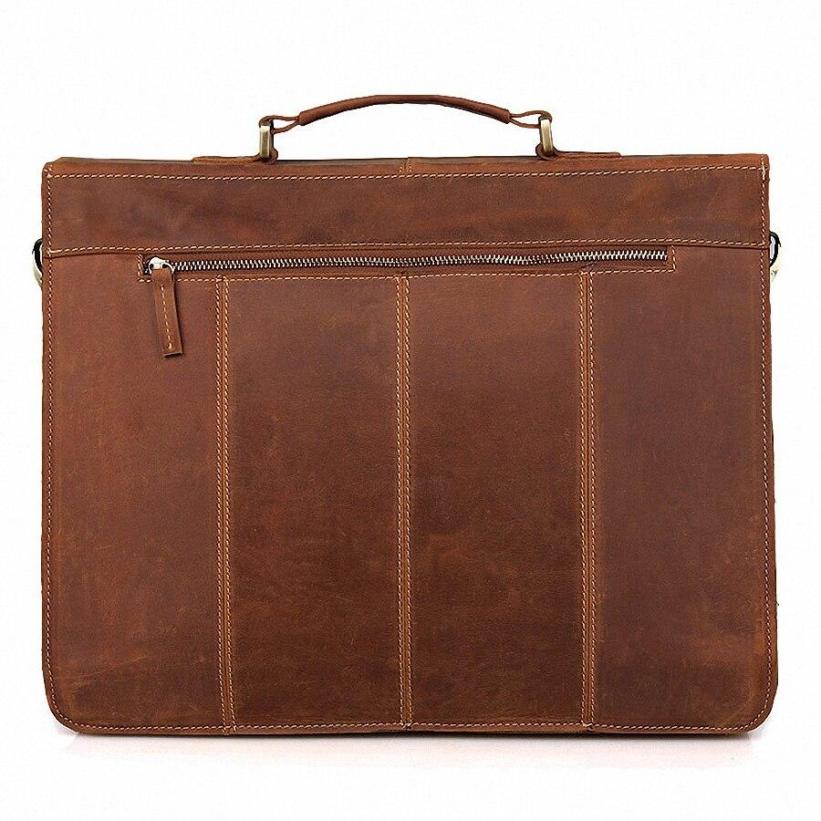 Винтажный кожаный мужской портфель Crazy Horse, сумка для ноутбука, деловая сумка, мужской портфель из натуральной кожи, мужская сумка через плеч... - 2