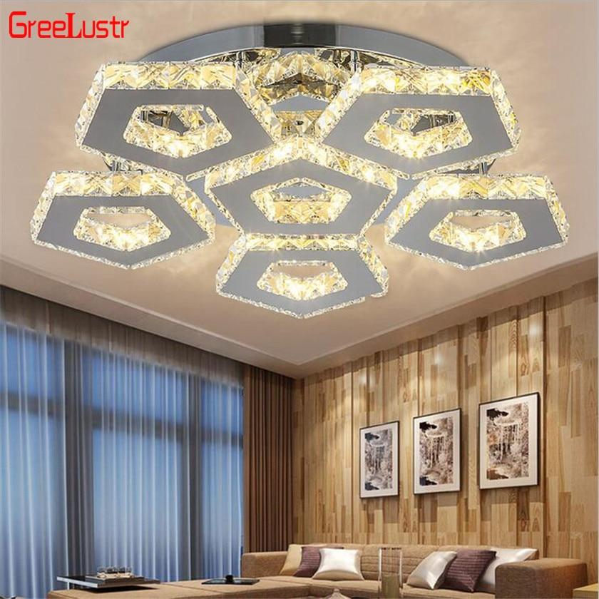 Lámpara de techo LED de cristal para sala de estar, 110v-260v, k9