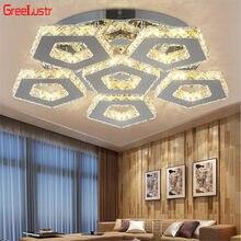 110v-260v led k9 luz de teto de cristal techo de cristal do teto de aço inoxidável plafond dormitorio sala de estar lâmpada