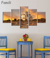 5Panel Moscow Russia architecture city landscape living room home wall modern art decor wood frame poster цены