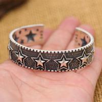 Top Fashion Pentangle Star Cuff Bangle Bracelet Men 100% Pure Solid Sterling Silver 925 Cool Mens 925 Jewelry Brief Indian Style