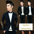 2016 New Fashion Korea Stylish Men Blazer Golden Embroidery Slim Fit Men Blaser Jacket Male Blaser Wedding Terno Masculino