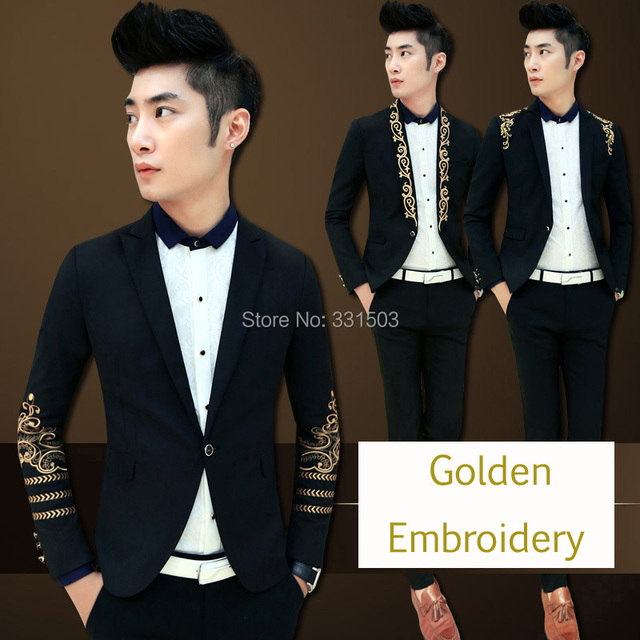 2016 Nueva Moda de Corea Hombres Con Estilo Blazer Oro Bordado Slim Fit Hombres Chaqueta Blaser Blaser Masculina Boda Terno masculino