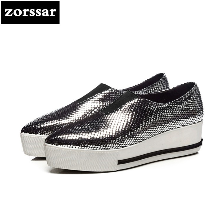 {Zorssar} 2018 Fashion Silver women flat platform Loafers Female Casual shoes Flats Pointed toe Shoes Ladies platform shoes