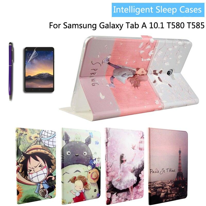 Moda pintado cuero Pu titular de la cubierta del caso para Samsung Galaxy Tab A A6 10,1 2016 T585 T580 T580N tablet + Film + Stylus