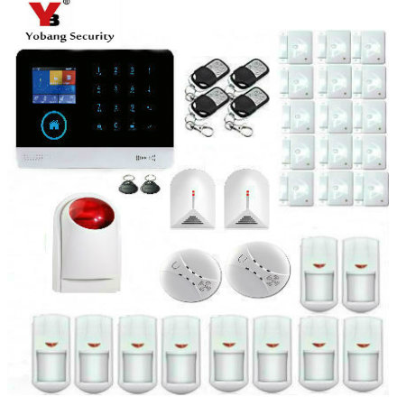 YoBang Security WiFi GSM GPRS Home Security Alarm System WiFi IP Camera With RFID Keyboard Wireless Alarm Smoke Detector .
