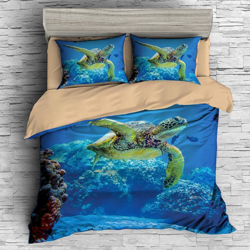 Marine Life 3D Printing Bedding Set Duvet Cover Comforter Bedding Sets Home Textile Bedclothes US UK AU 13 Size Turtle Bed Linen