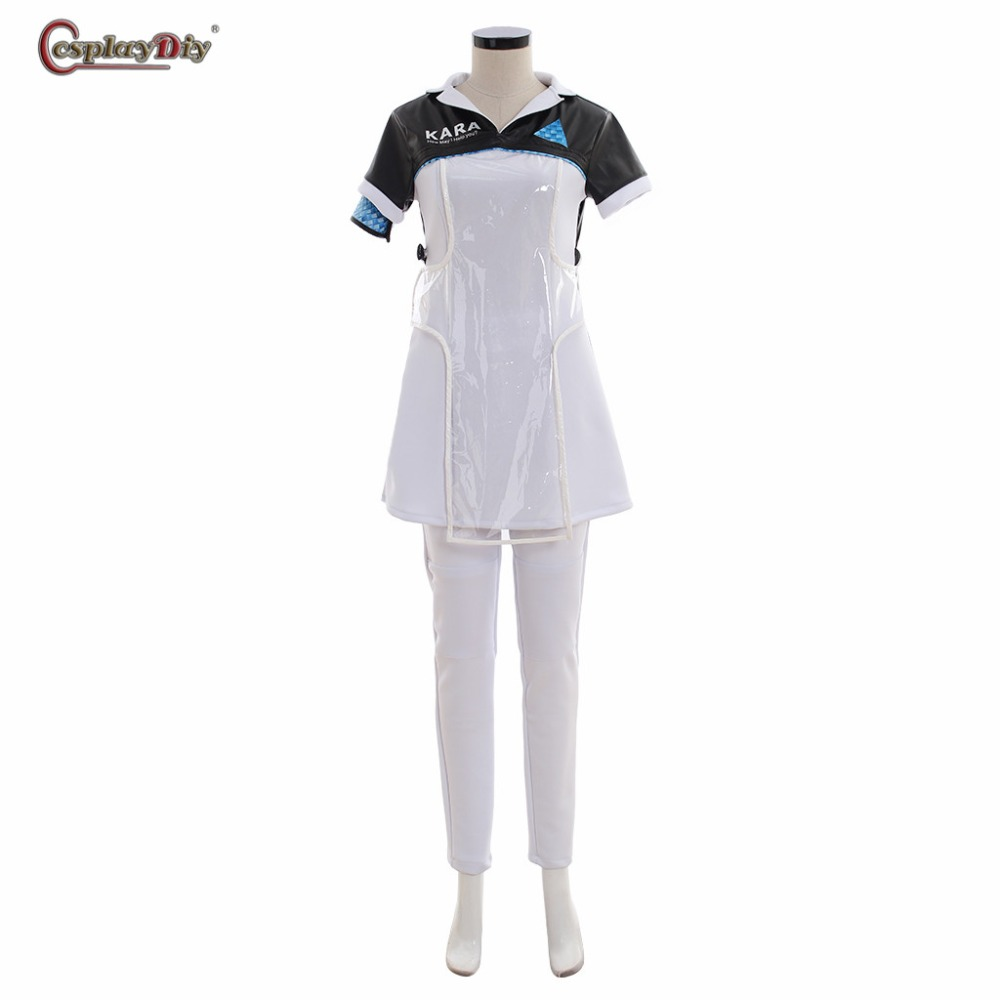 Cosplaydiy Detroit: Become Human KARA Code AX400 Cosplay Costume White Dress Pants For Women Girl Halloween Outfits