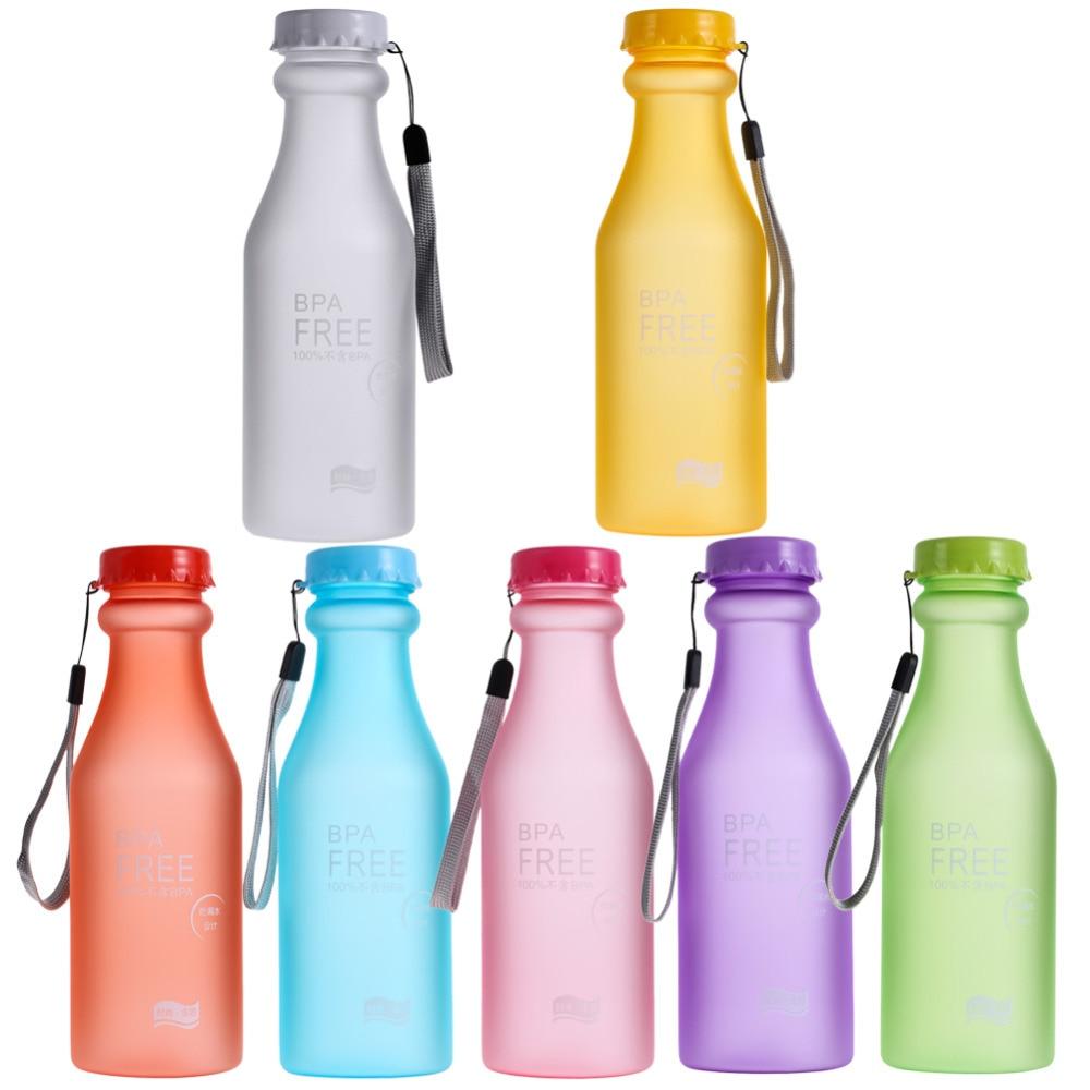 Portable 7 colors 550ml Leak-proof Bike Sports Unbreakable Plastic Water Bottle Drinking Plastic Water Bottles Water Glass