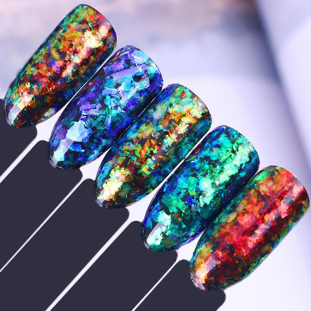 1 box 0.2g Nail Flakies Sequins Chameleon Powder Cloud Paillette Iridescent Irregular Chrome Manicure Nail Art Decoration