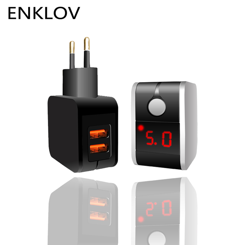 LED Display 2 USB Charger Universal Mobile Phone USB Charger Fast Charging Wall Charger For iPhone Samsung Xiaomi Huawei 2.4A