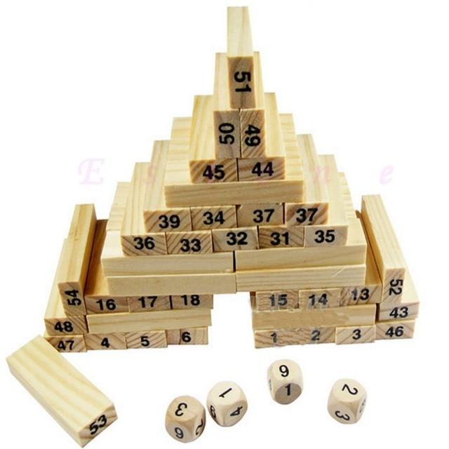 54 Bloques 4 Dados Ninos Madera Tumbling Stacking Jenga Torre Bloque